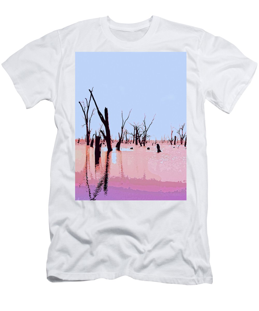 Swamp Men's T-Shirt (Athletic Fit) featuring the mixed media Swamp And Dead Trees by Dominic Piperata