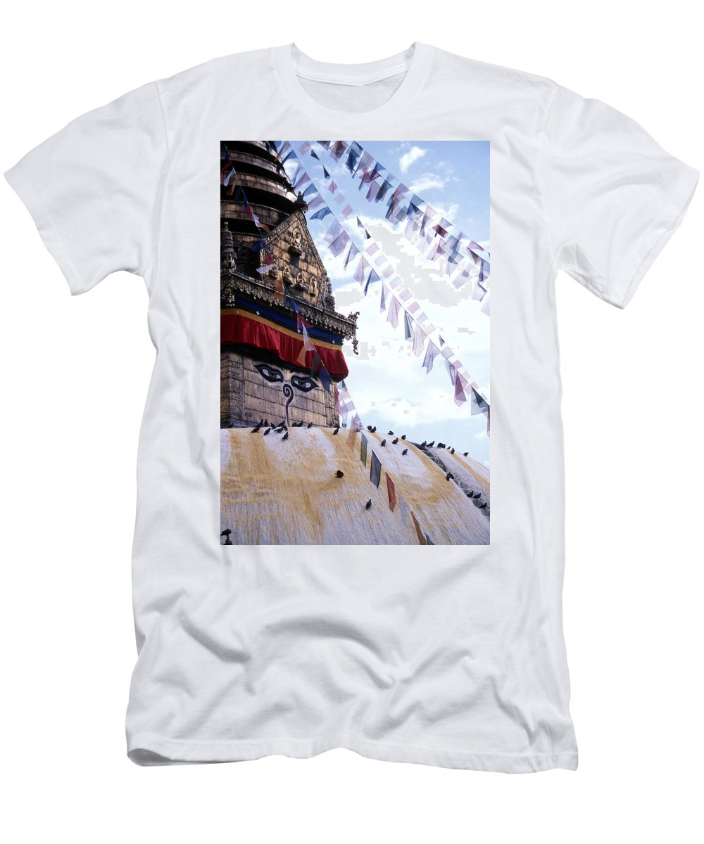 Swayambhunath Stupa Men's T-Shirt (Athletic Fit) featuring the photograph Swayambhunath II by Patrick Klauss