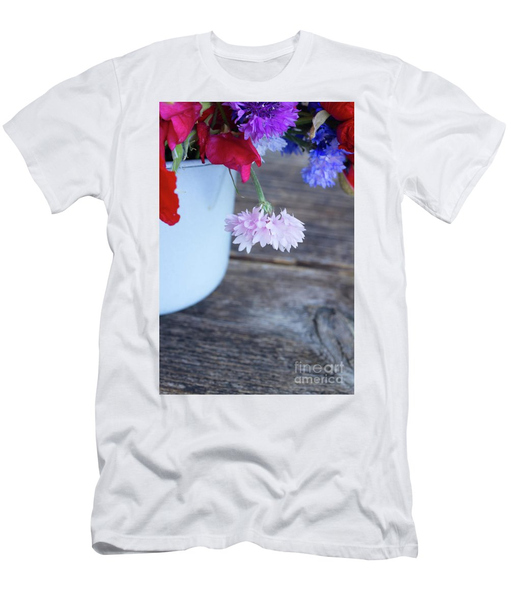 Poppy Men's T-Shirt (Athletic Fit) featuring the photograph Sweet Pea And Corn Flowers by Anastasy Yarmolovich