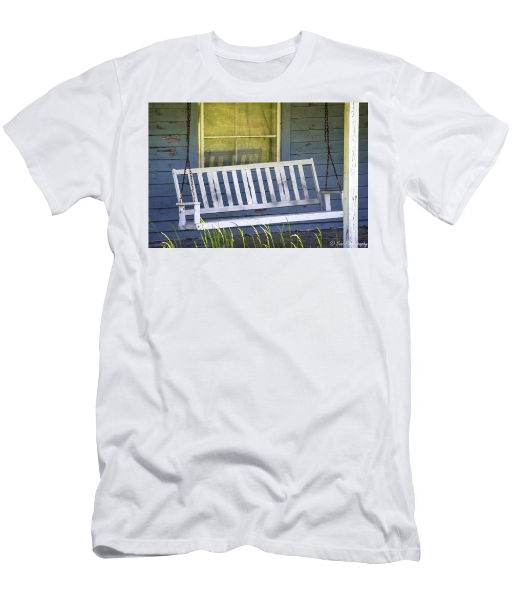 Porch Swing Men's T-Shirt (Athletic Fit) featuring the photograph Swinging At The Cottage by Soni Macy