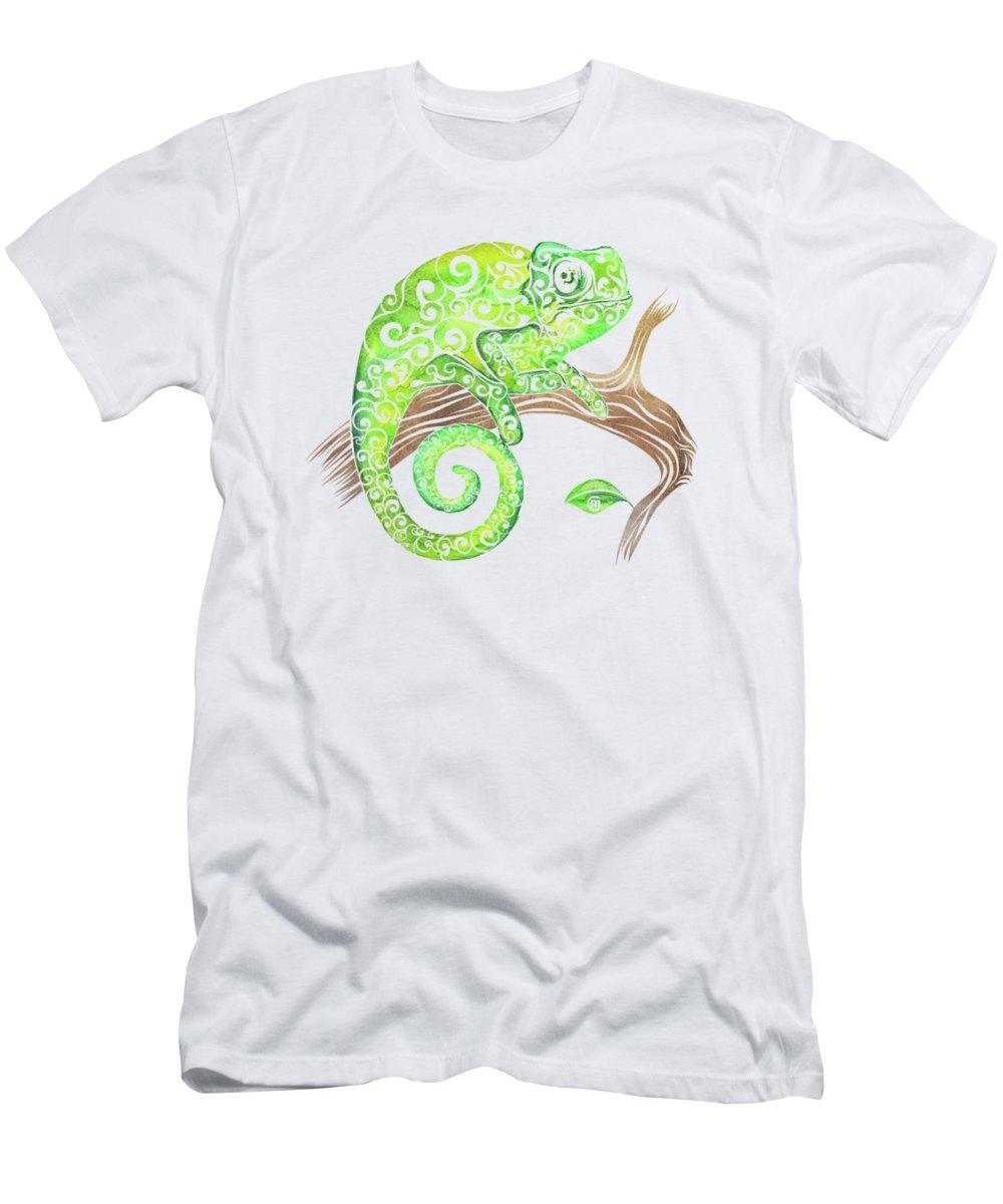 Swirly Men's T-Shirt (Athletic Fit) featuring the mixed media Swirly Chameleon by Carolina Matthes
