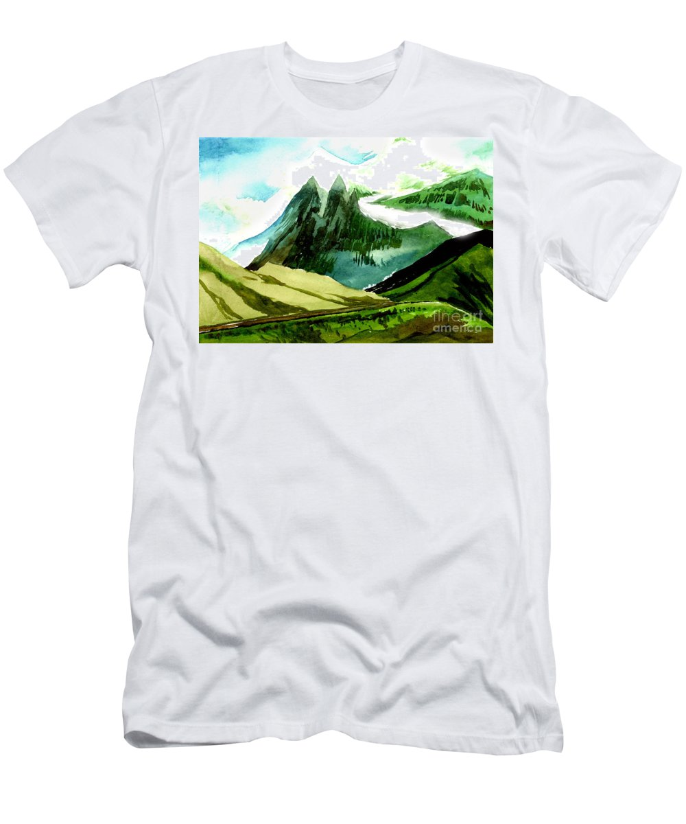 Landscape Men's T-Shirt (Athletic Fit) featuring the painting Switzerland by Anil Nene