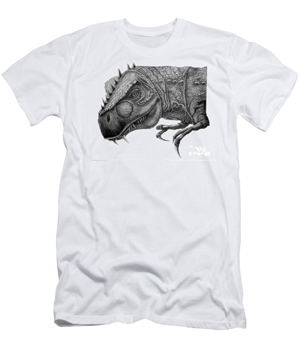 Pencil Men's T-Shirt (Athletic Fit) featuring the drawing T-rex by Murphy Elliott