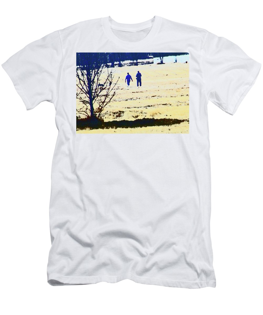 Abstract Men's T-Shirt (Athletic Fit) featuring the photograph Taking A Walk by Lenore Senior