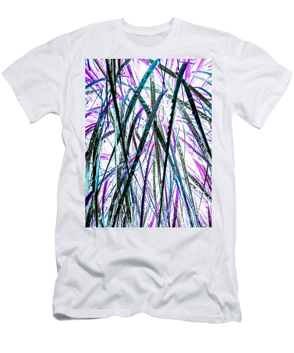 Tall Men's T-Shirt (Athletic Fit) featuring the photograph Tall Wet Grass by Heather Joyce Morrill