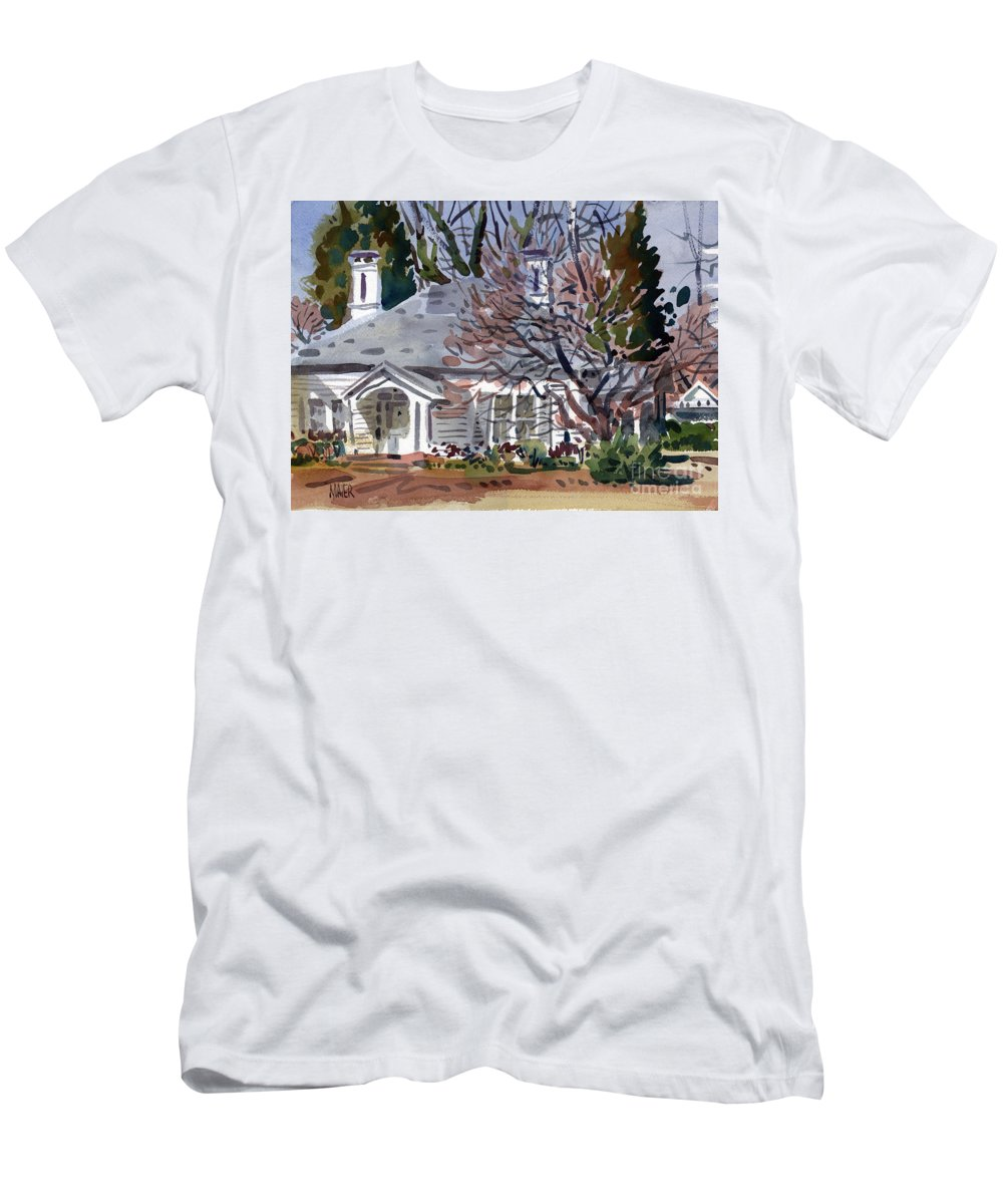 Tapp House Men's T-Shirt (Athletic Fit) featuring the painting Tapp House by Donald Maier