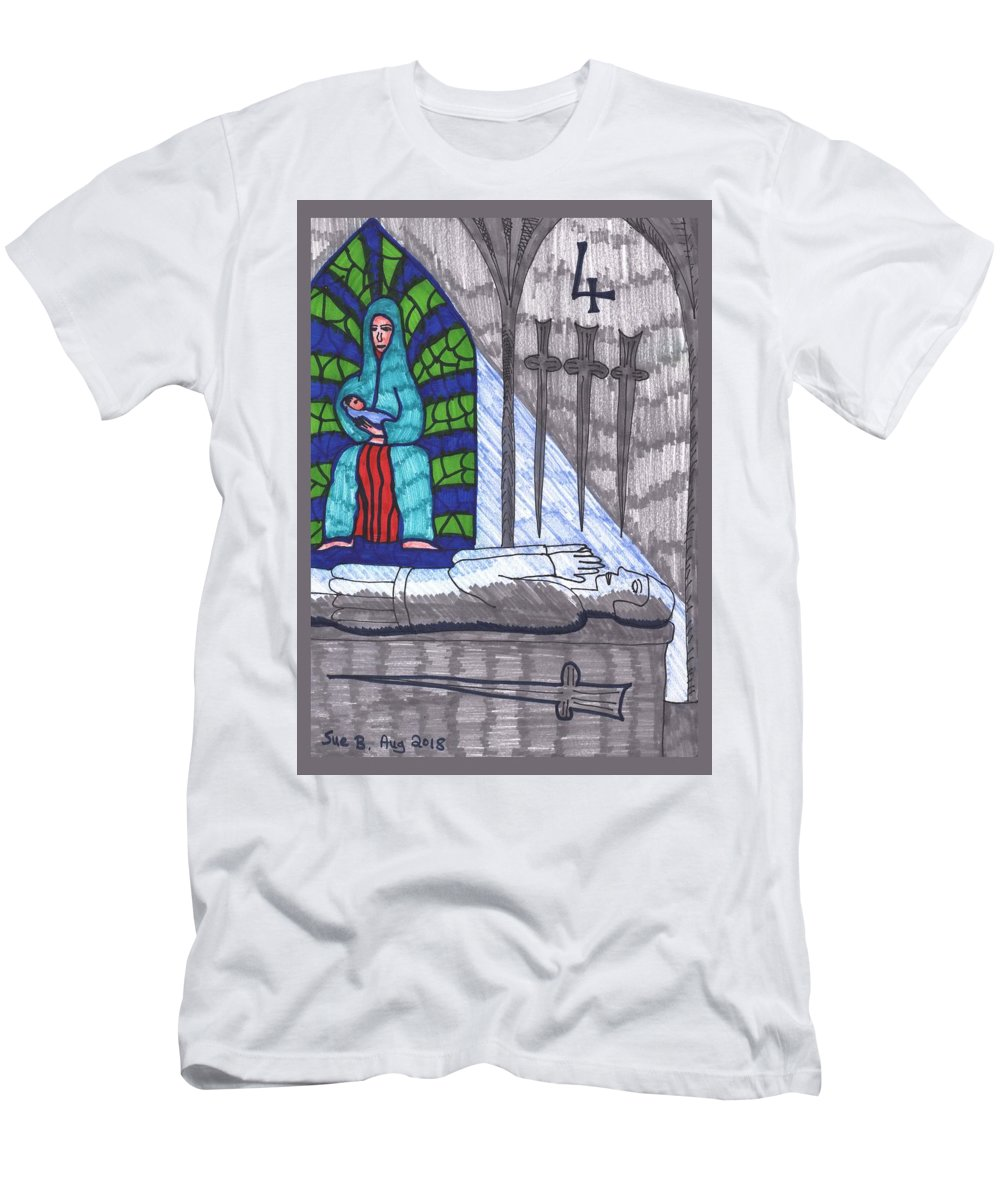 Tarot Men's T-Shirt (Athletic Fit) featuring the drawing Tarot Of The Younger Self Four Of Swords by Sushila Burgess