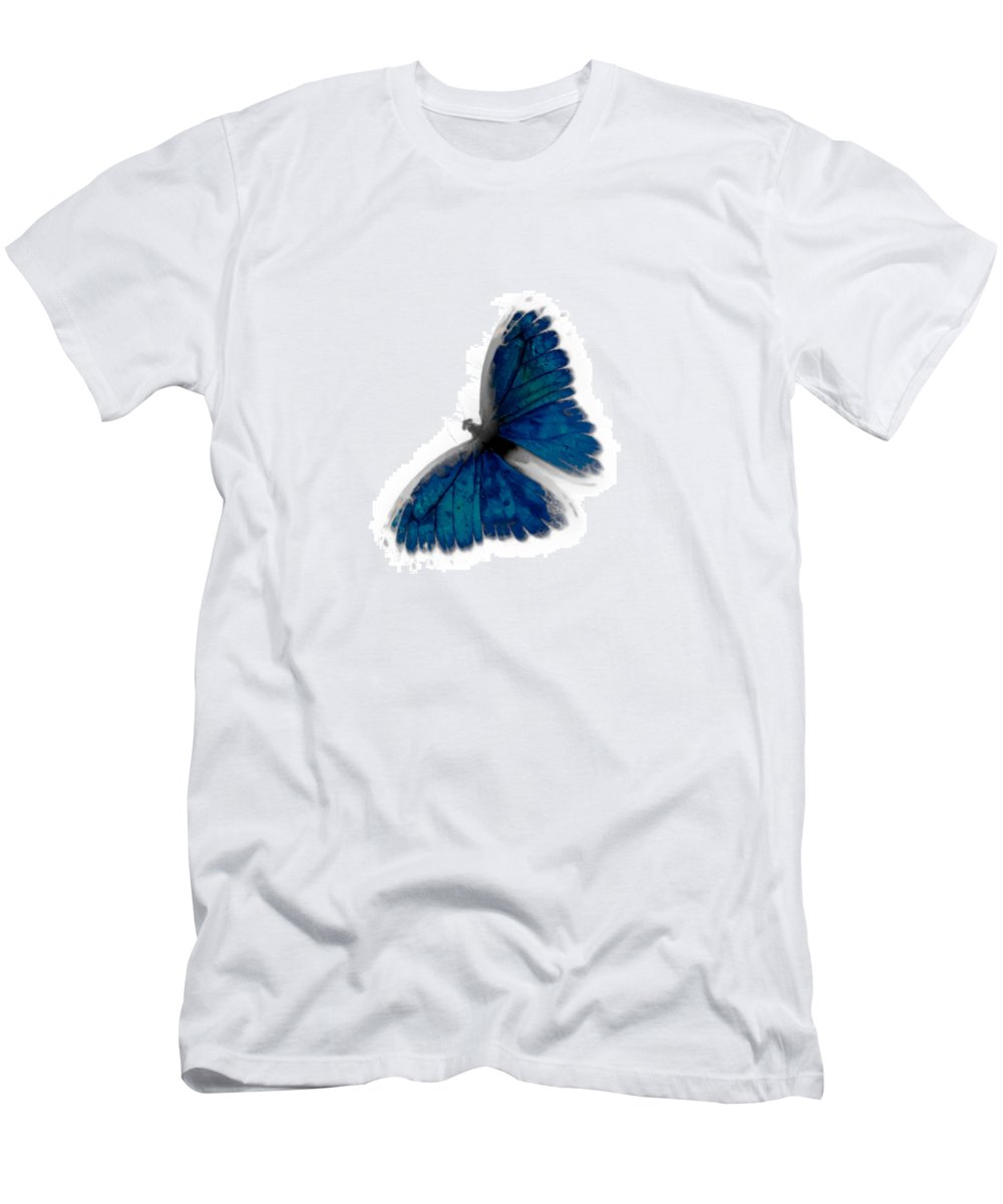 Butterfly Men's T-Shirt (Athletic Fit) featuring the photograph Butterfly Blur In Teal Blues by Heather Joyce Morrill