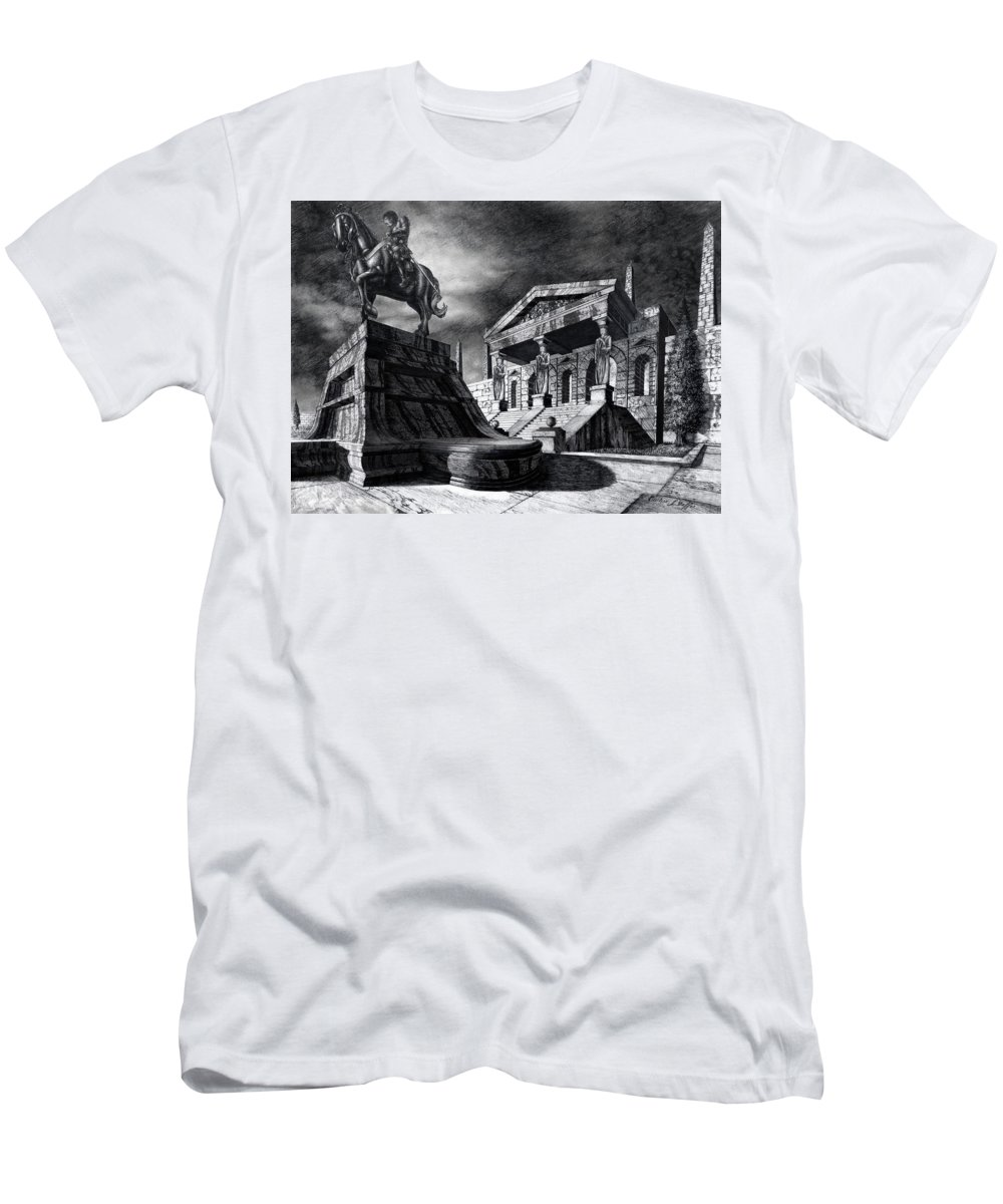 Greek Architecture Men's T-Shirt (Athletic Fit) featuring the drawing Temple Of Perseus by Curtiss Shaffer