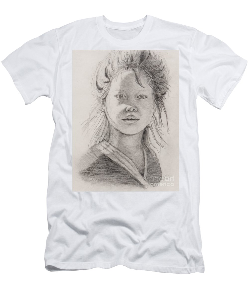 Portrait T-Shirt featuring the drawing Thai Beauty by Nadine Rippelmeyer