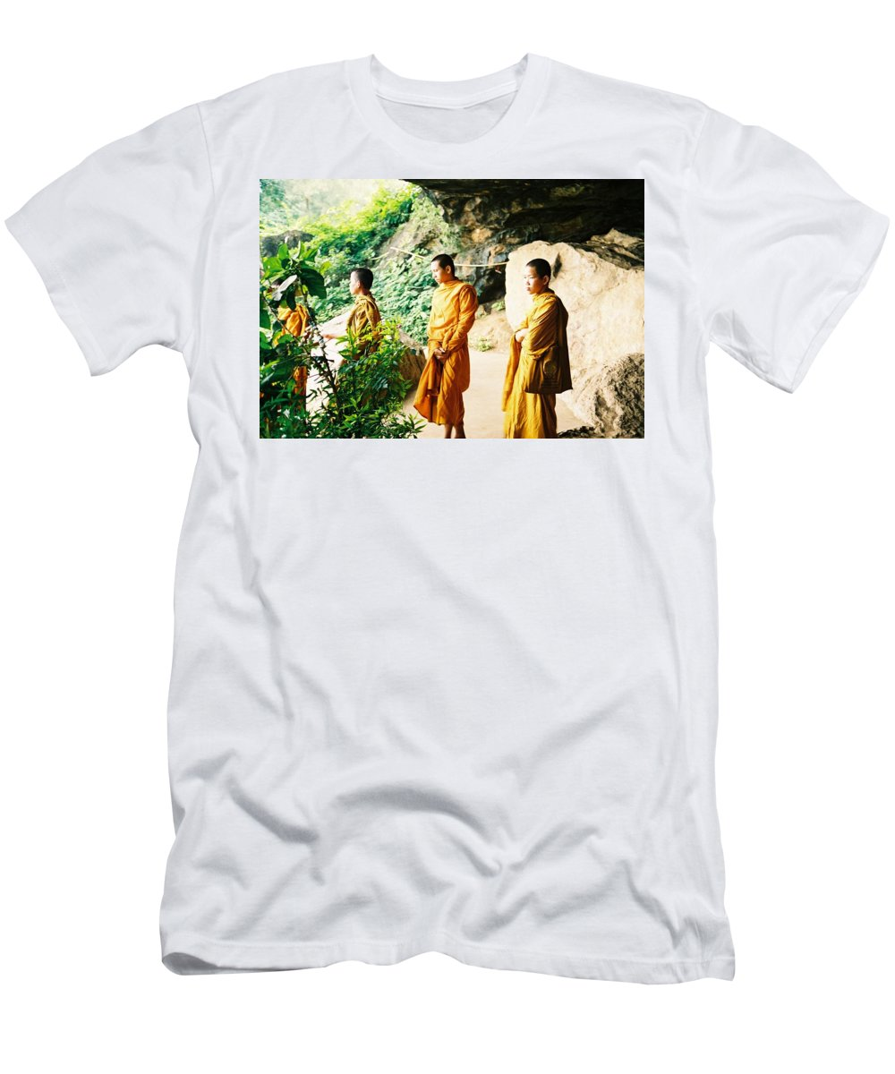 Monks Men's T-Shirt (Athletic Fit) featuring the photograph Thai Monks by Mary Rogers