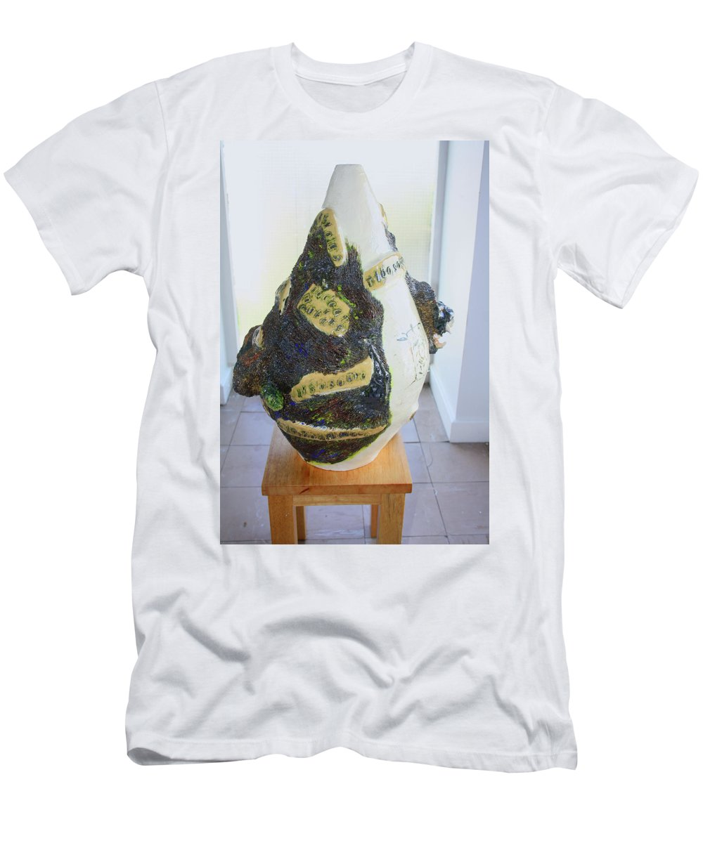 Jesus Men's T-Shirt (Athletic Fit) featuring the sculpture The Animal Cell - View Three by Gloria Ssali