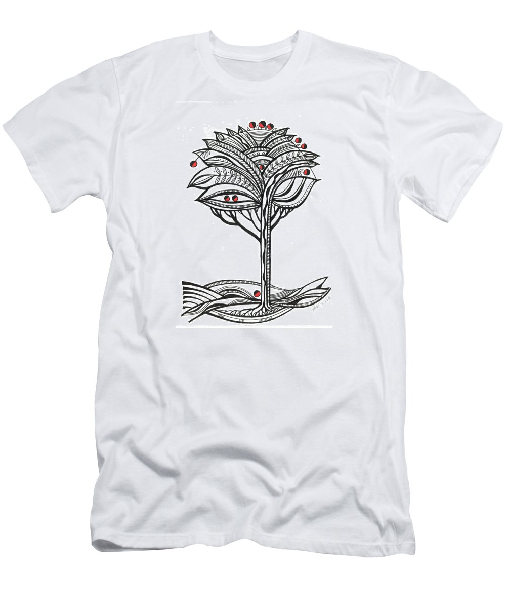 Abstract Men's T-Shirt (Athletic Fit) featuring the drawing The Apple Tree by Aniko Hencz