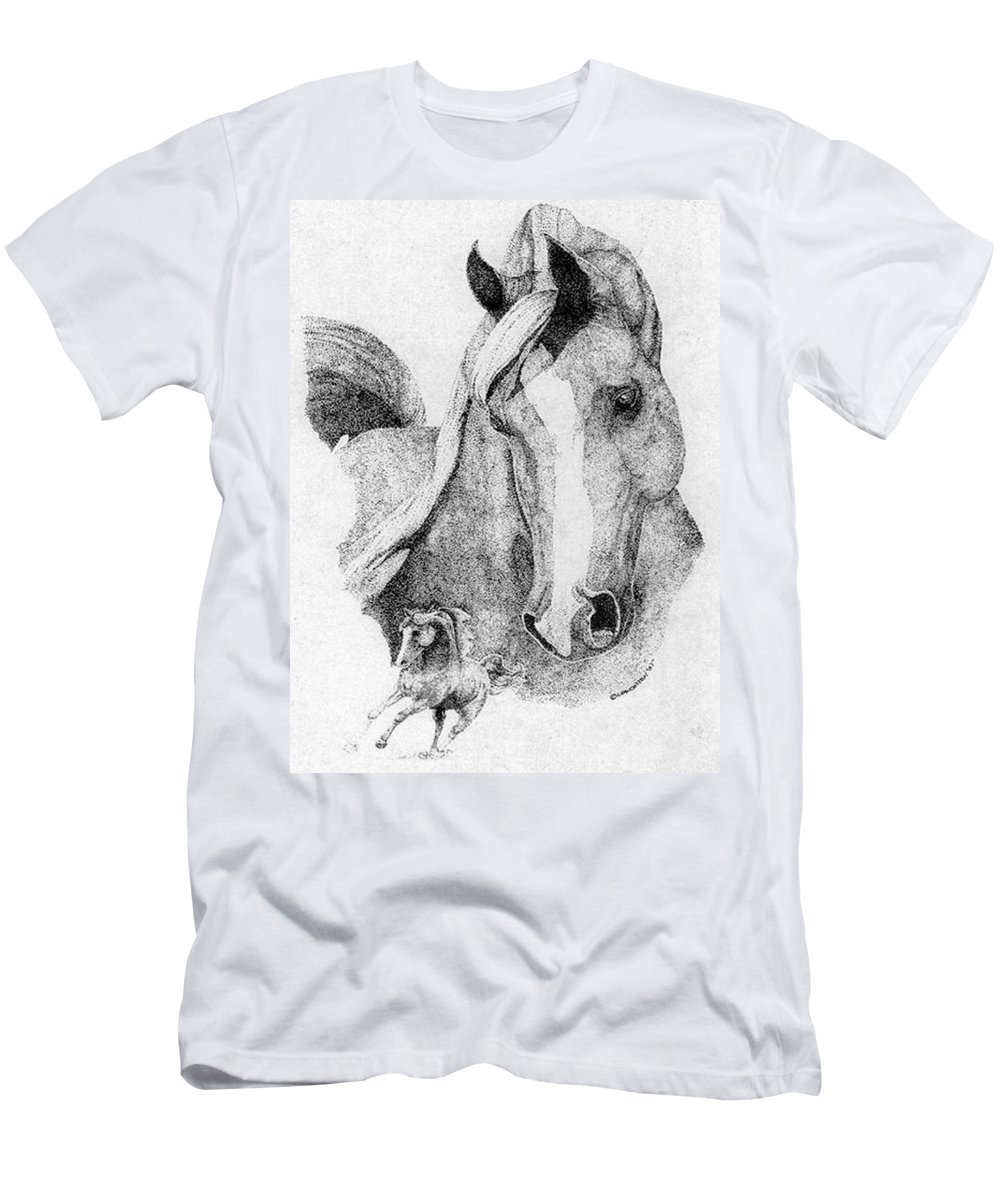 Horse Men's T-Shirt (Athletic Fit) featuring the drawing The Arabian Stallion by Lucien Van Oosten