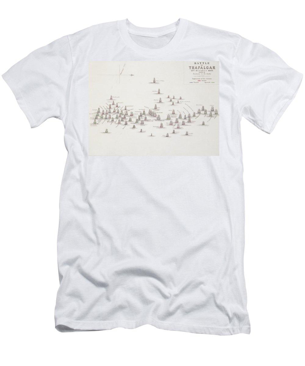 The Battle Of Trafalgar T-Shirt featuring the drawing The Battle Of Trafalgar by Alexander Keith Johnston