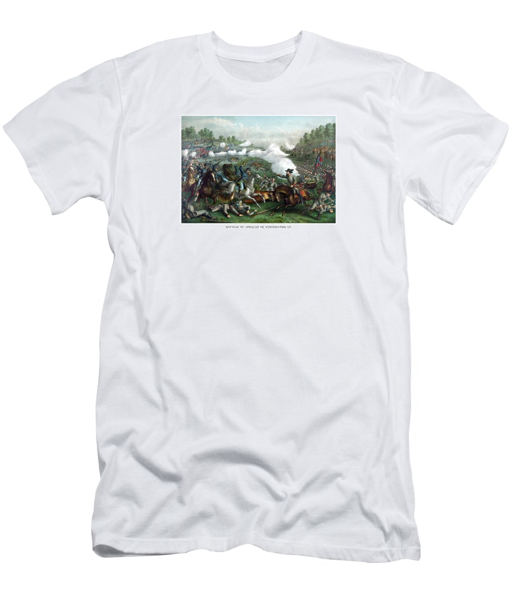 Civil War Men's T-Shirt (Athletic Fit) featuring the painting The Battle Of Winchester by War Is Hell Store