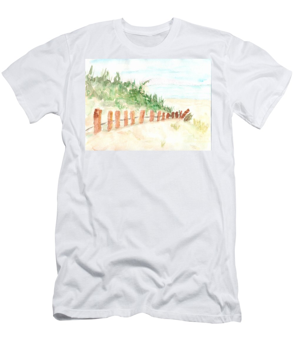 A Beach Men's T-Shirt (Athletic Fit) featuring the painting The Beach by Anne Gitto