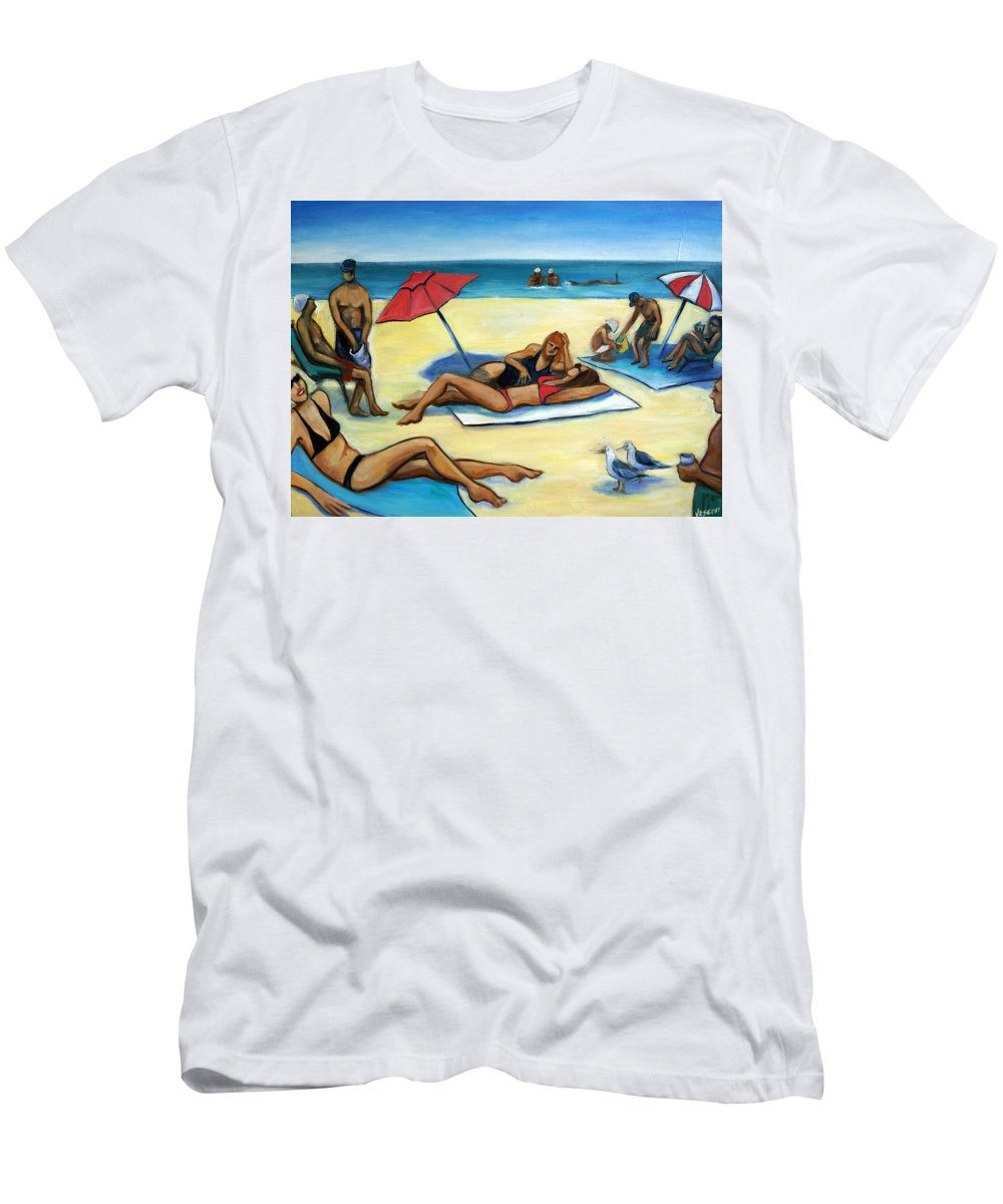 Beach Scene T-Shirt featuring the painting The Beach by Valerie Vescovi