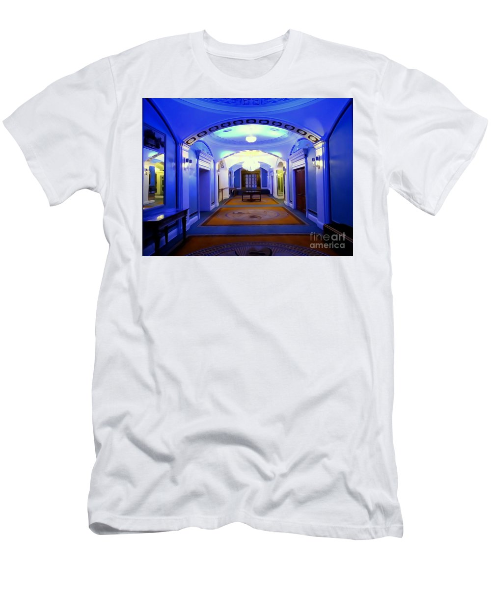 Digital Men's T-Shirt (Athletic Fit) featuring the photograph The Blue Hallway by Ed Weidman