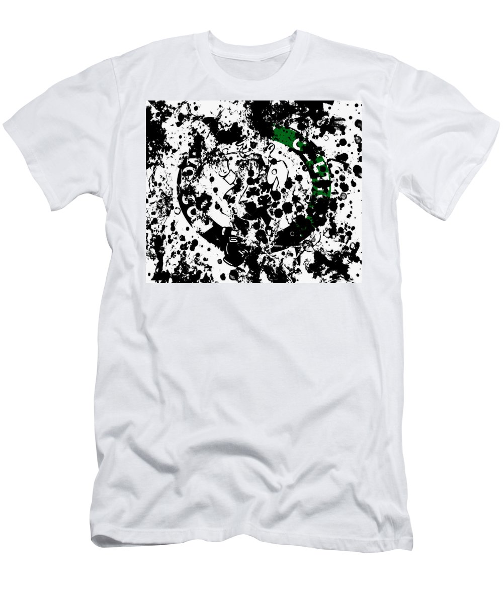 The Boston Celtics Men's T-Shirt (Athletic Fit) featuring the mixed media The Boston Celtics 6d by Brian Reaves