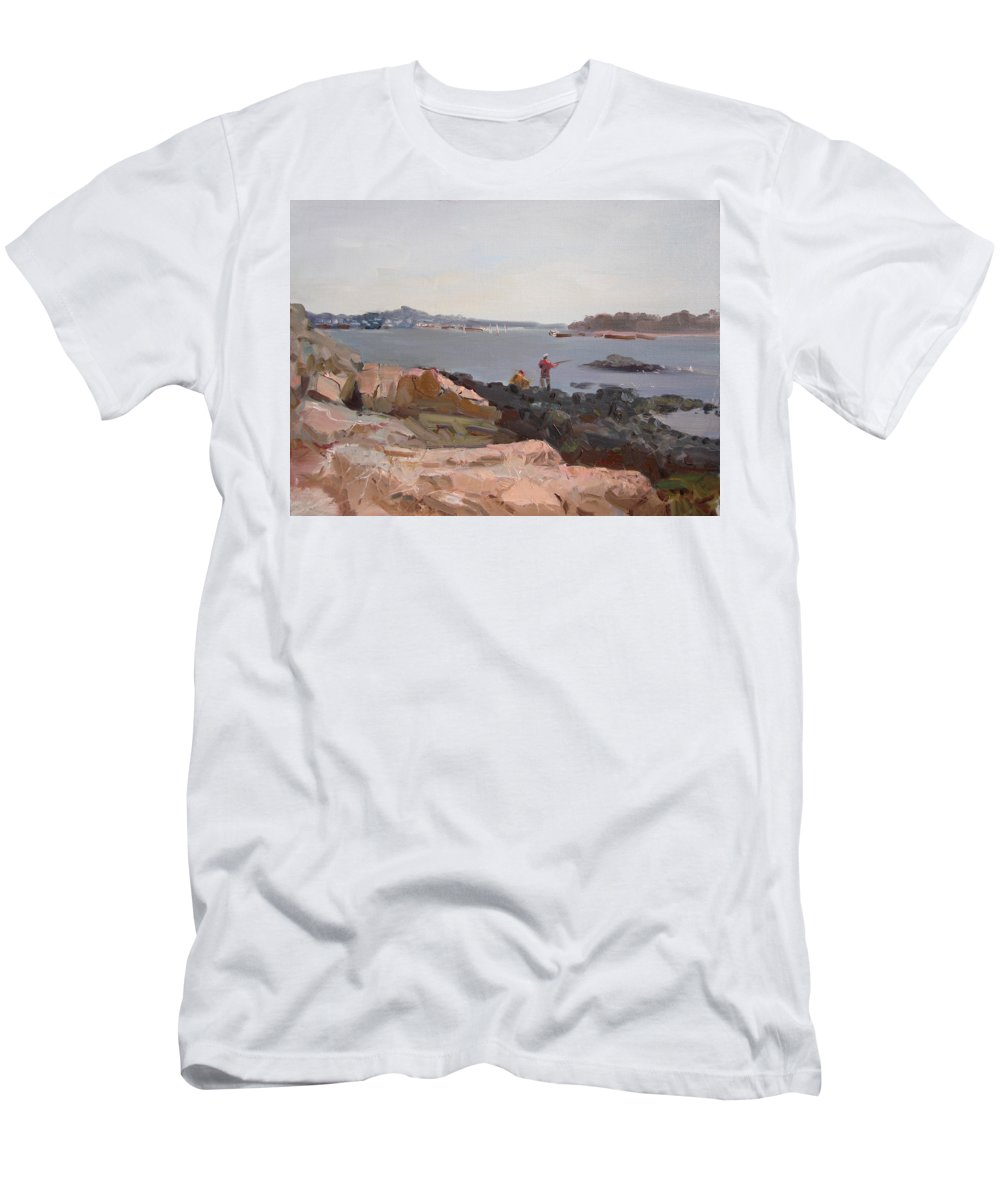 The Bronx Rocky Shore Men's T-Shirt (Athletic Fit) featuring the painting The Bronx Rocky Shore by Ylli Haruni