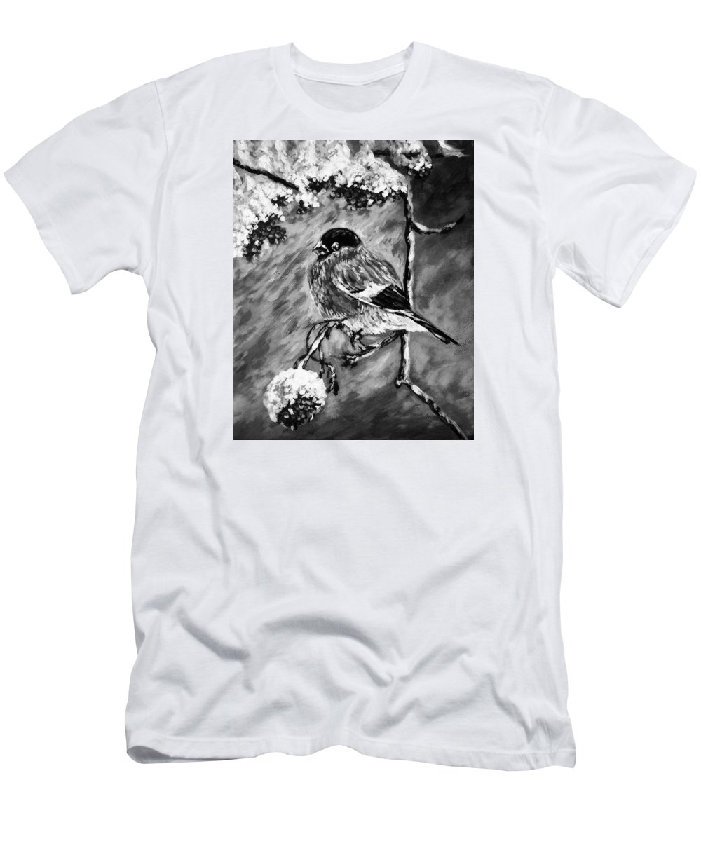 Amazing Print Men's T-Shirt (Athletic Fit) featuring the digital art The Bullfinch Black And White by Katreen Queen