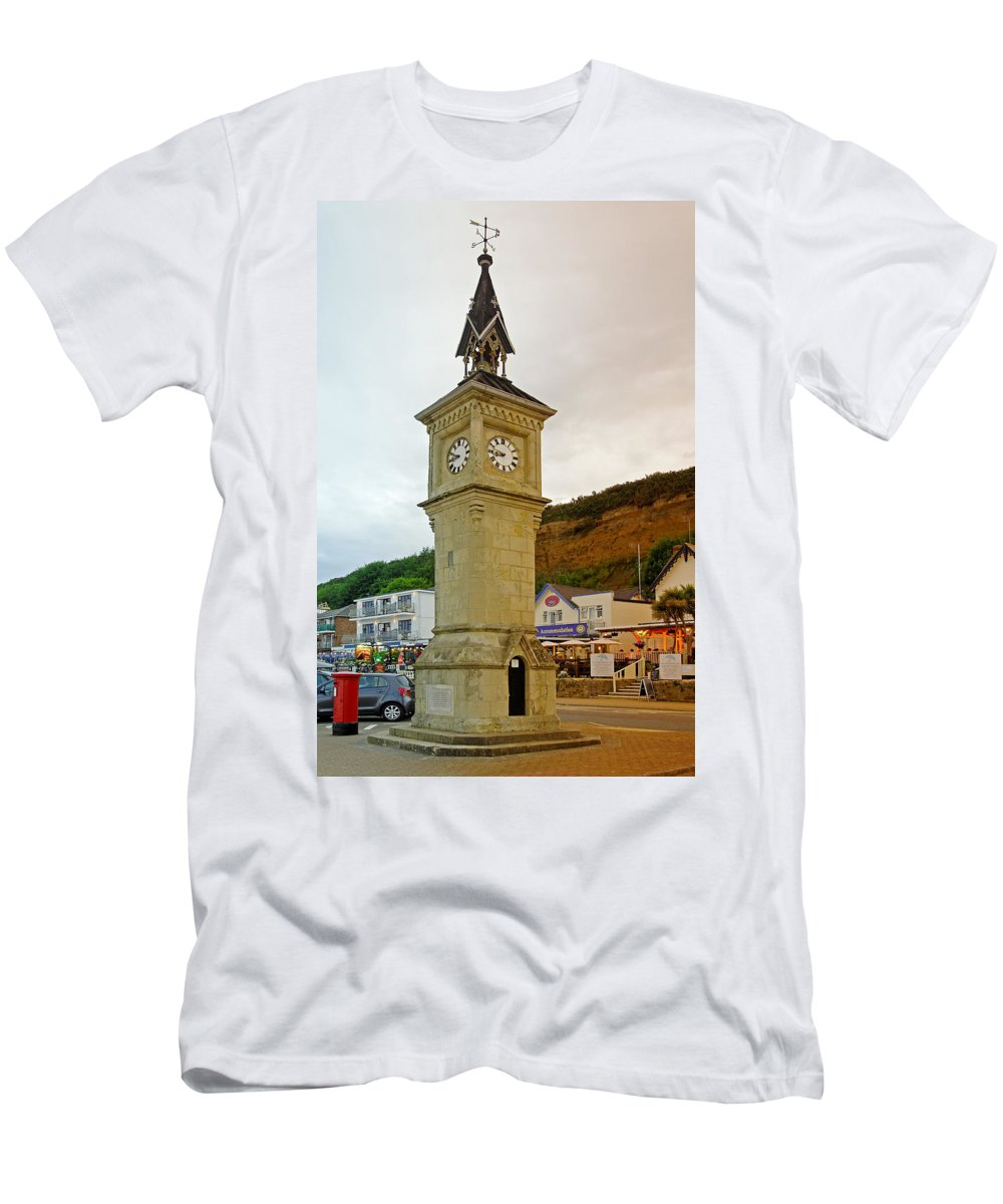 Shanklin Men's T-Shirt (Athletic Fit) featuring the photograph The Clock Tower At Shanklin by Rod Johnson