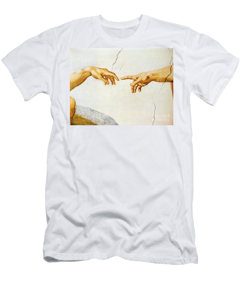 The Men's T-Shirt (Athletic Fit) featuring the painting The Creation Of Adam by Michelangelo Buonarroti