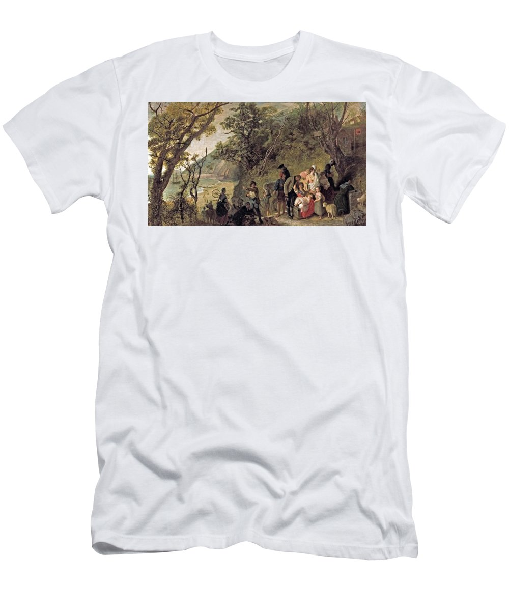 Joseph Severn - The Deserted Village 1857 Men's T-Shirt (Athletic Fit) featuring the painting The Deserted Village by MotionAge Designs