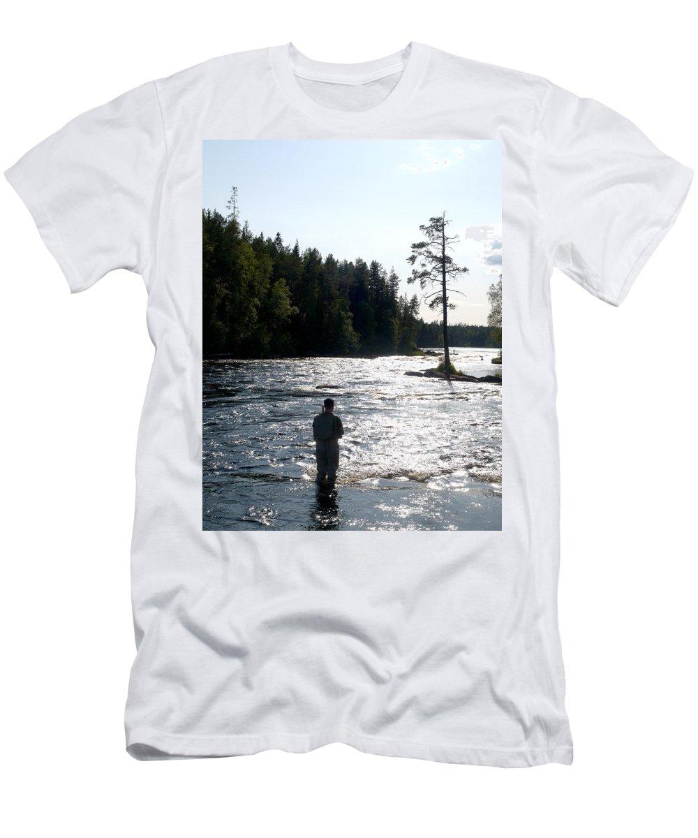 Lehtokukka Men's T-Shirt (Athletic Fit) featuring the photograph The Fisherman by Jouko Lehto