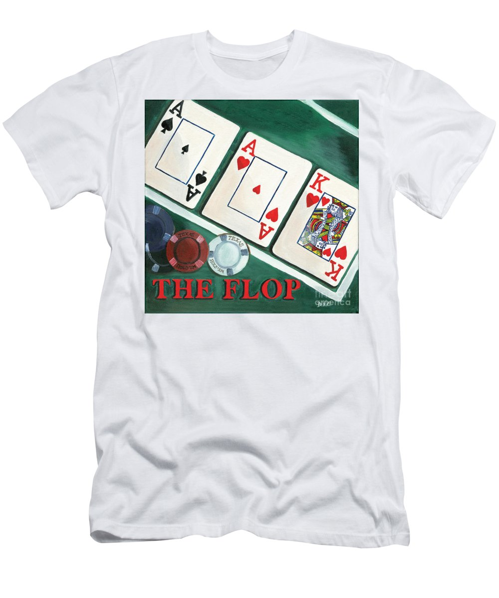 Texas Hold Em Men's T-Shirt (Athletic Fit) featuring the painting The Flop by Debbie DeWitt