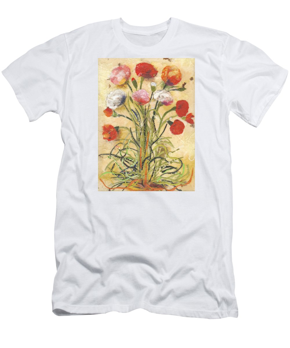 Flowers T-Shirt featuring the mixed media The floral dance by Nira Schwartz