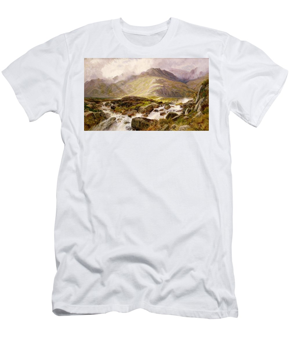 The Men's T-Shirt (Athletic Fit) featuring the painting The Glyder Fawr by Edwin Pettitt