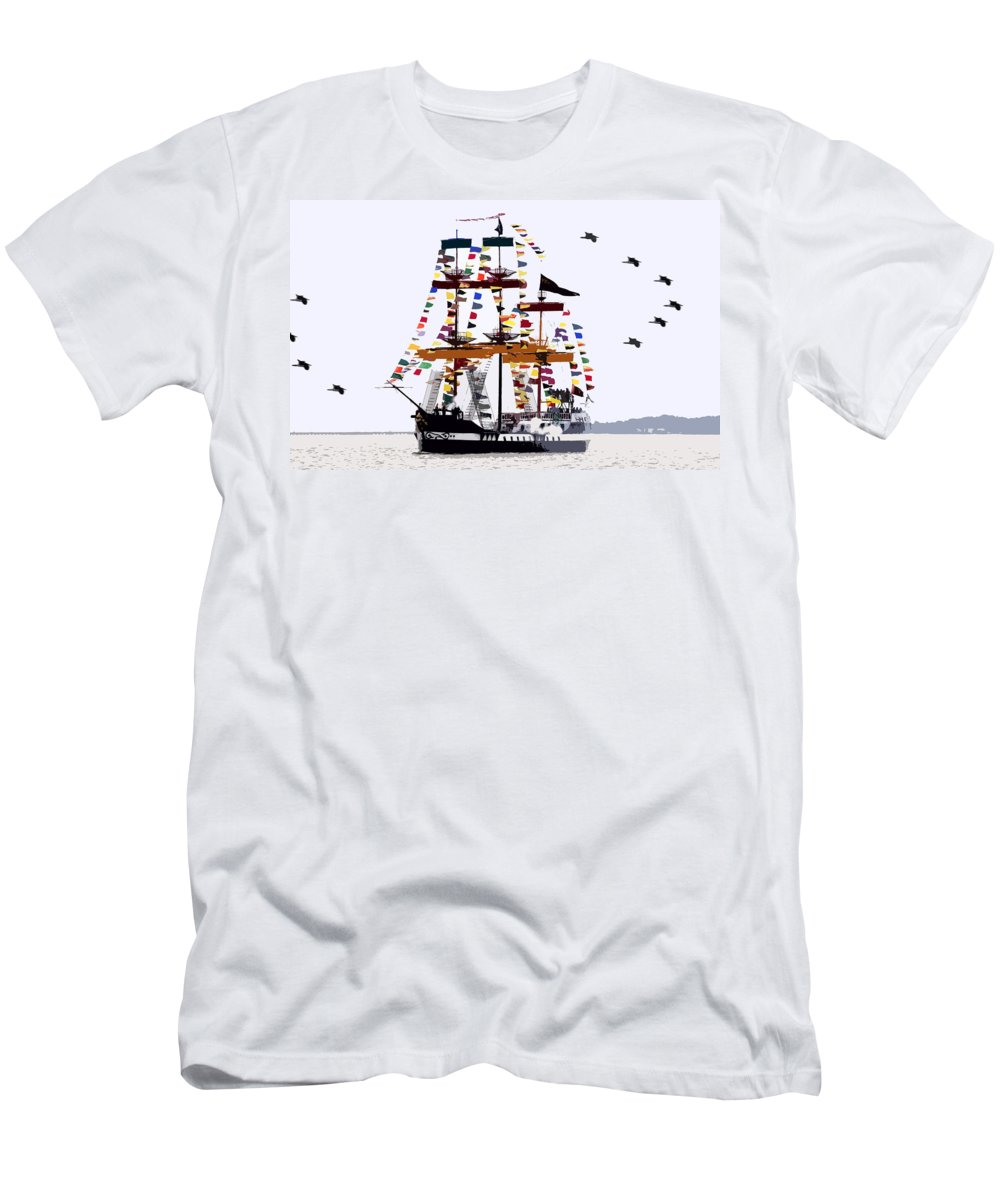 Gasparilla Men's T-Shirt (Athletic Fit) featuring the painting The Great Ship Gasparilla by David Lee Thompson