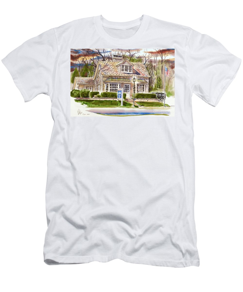 The Greystone Inn In Brigadoon Men's T-Shirt (Athletic Fit) featuring the painting The Greystone Inn In Brigadoon by Kip DeVore