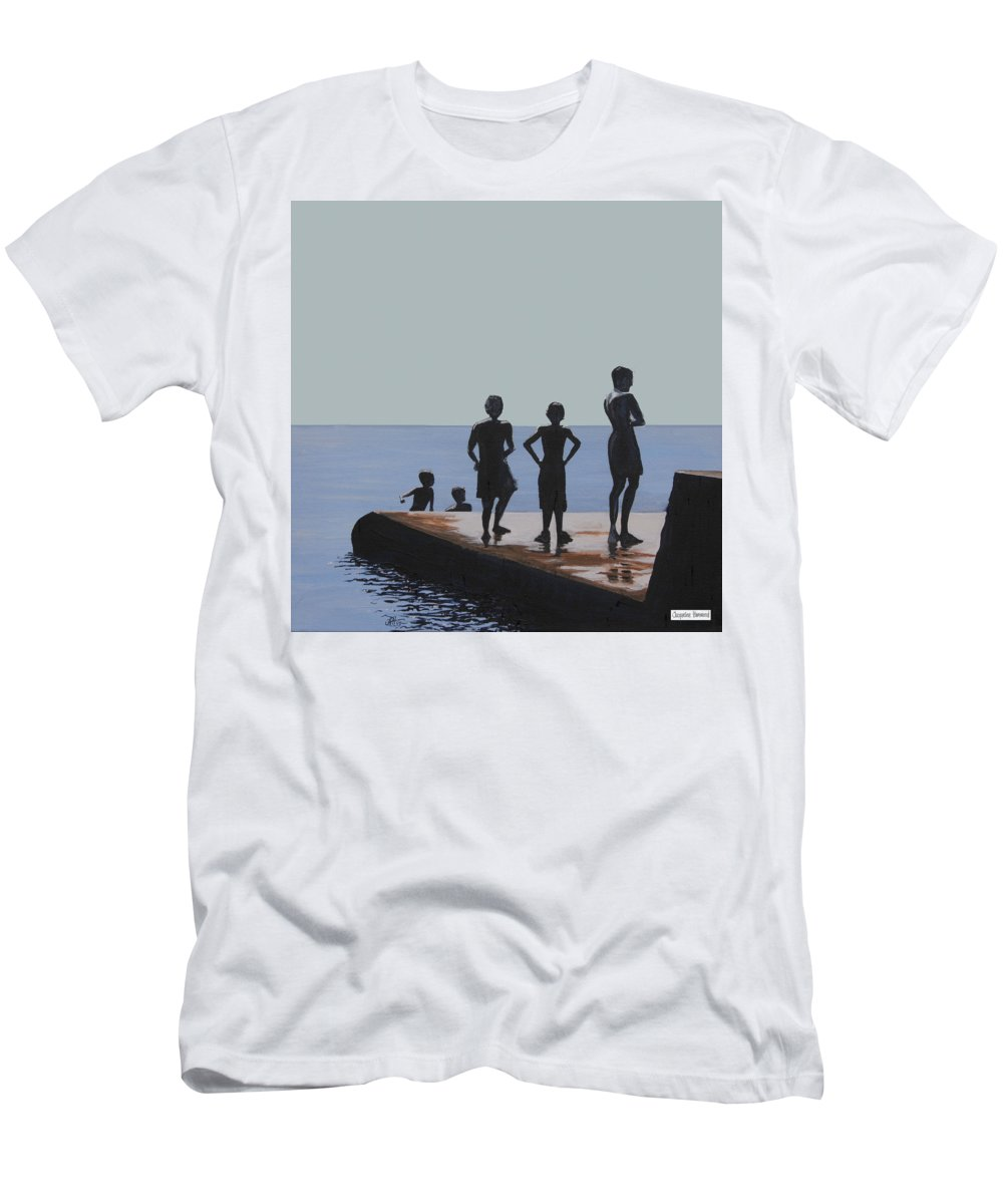 Seascape Men's T-Shirt (Athletic Fit) featuring the painting The Groyne - Stand And Stare by Jacqueline Hammond