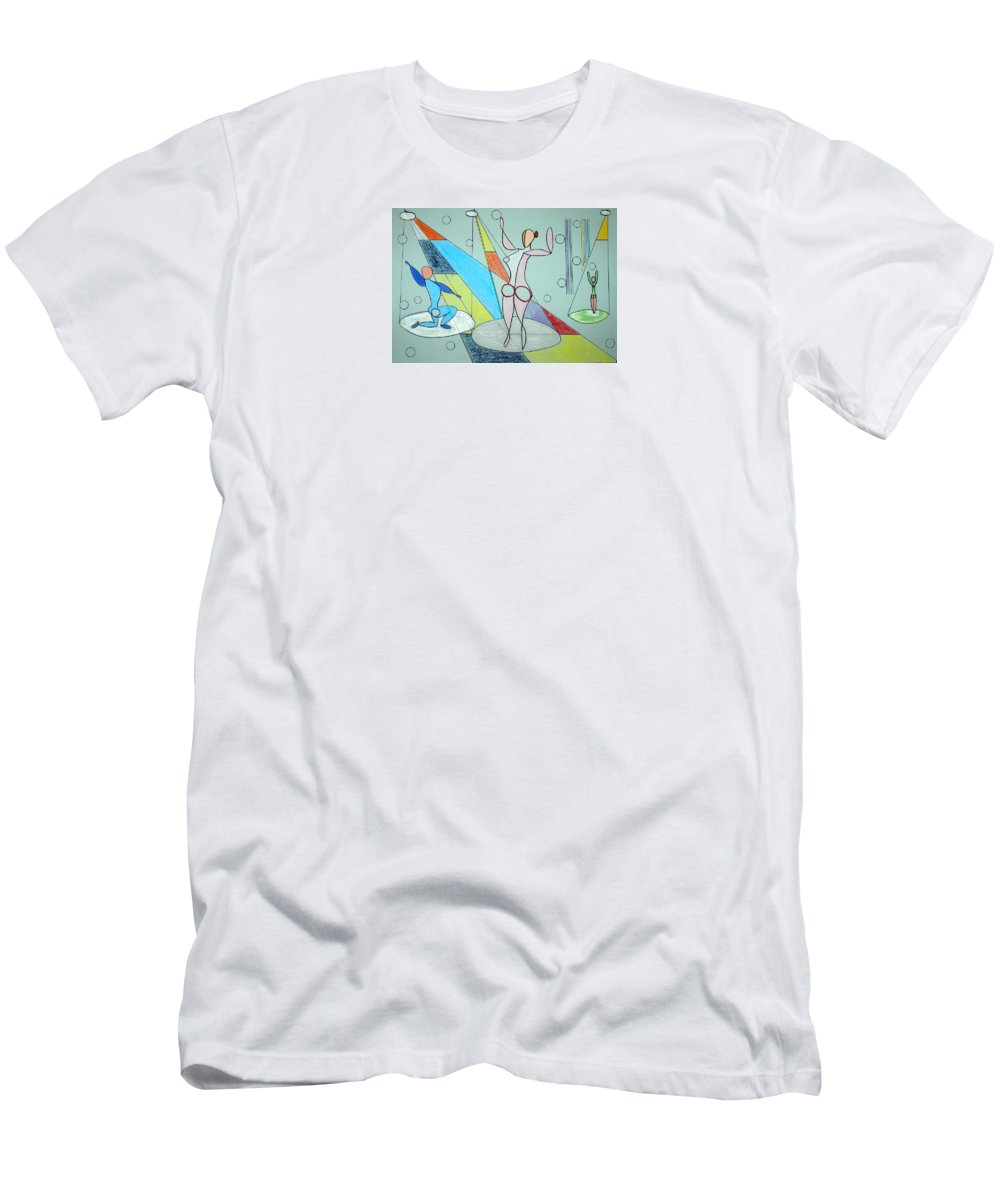 Juggling Men's T-Shirt (Athletic Fit) featuring the drawing The Jugglers by J R Seymour