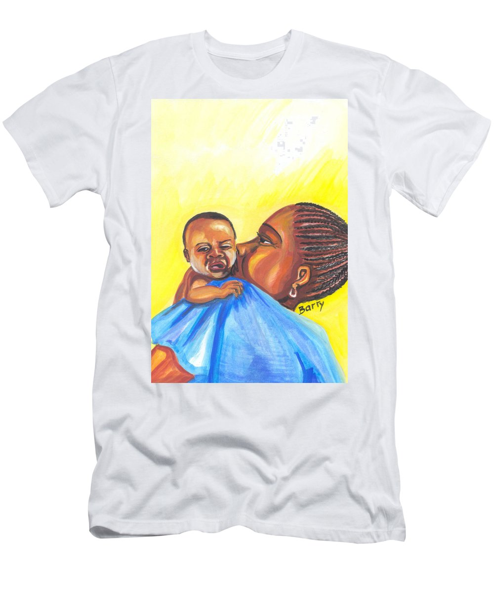 Portraits Men's T-Shirt (Athletic Fit) featuring the painting The Kiss Of A Mother In Senegal by Emmanuel Baliyanga