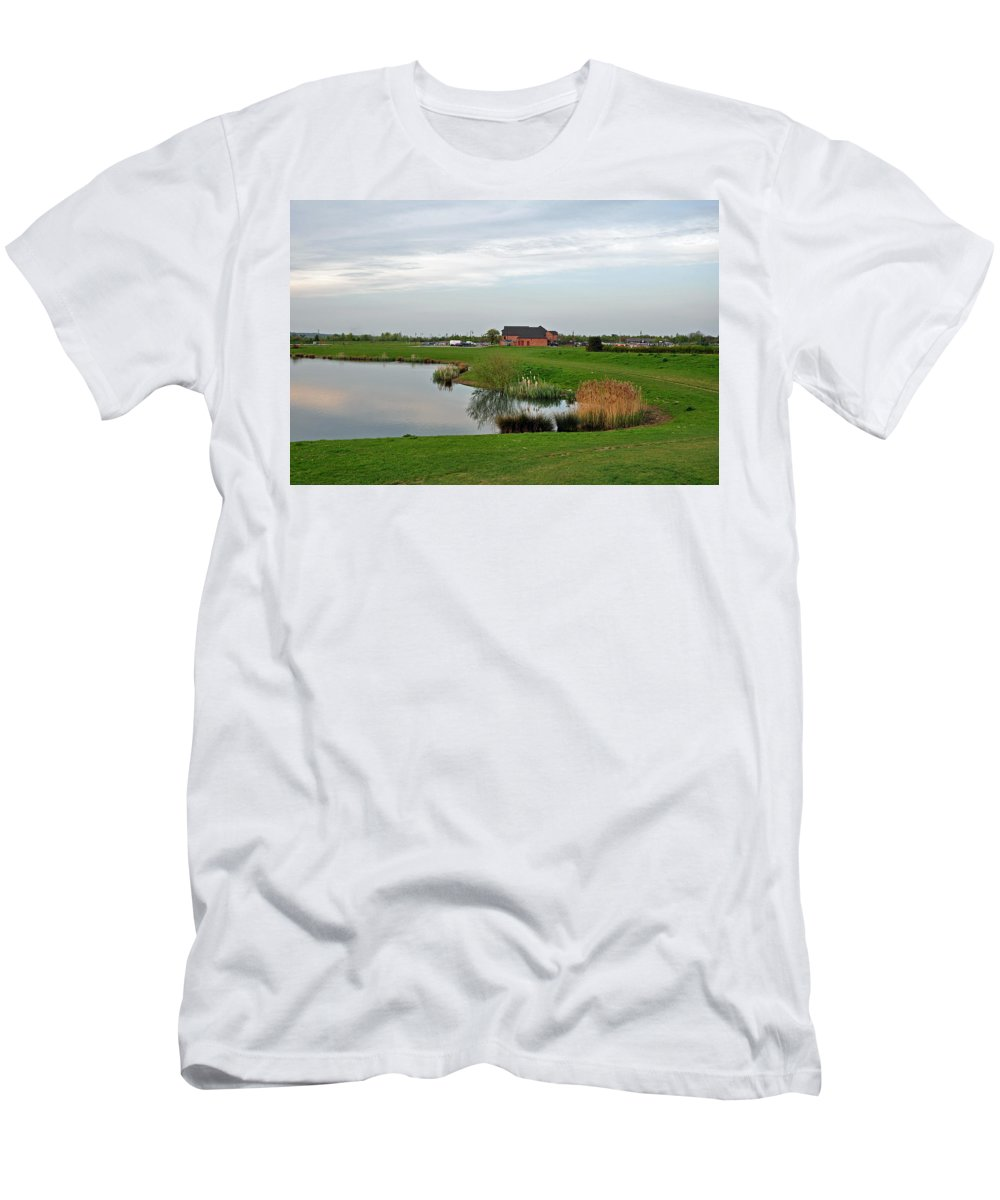 Europe Men's T-Shirt (Athletic Fit) featuring the photograph The Lake At Barton Marina by Rod Johnson