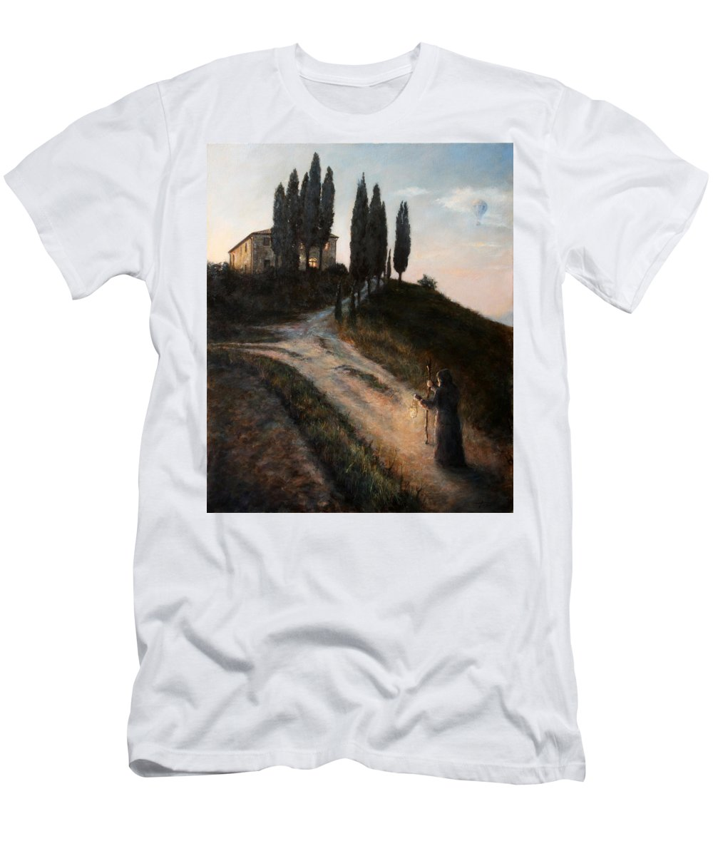 Tree T-Shirt featuring the painting The Light of a New Dawn by Darko Topalski