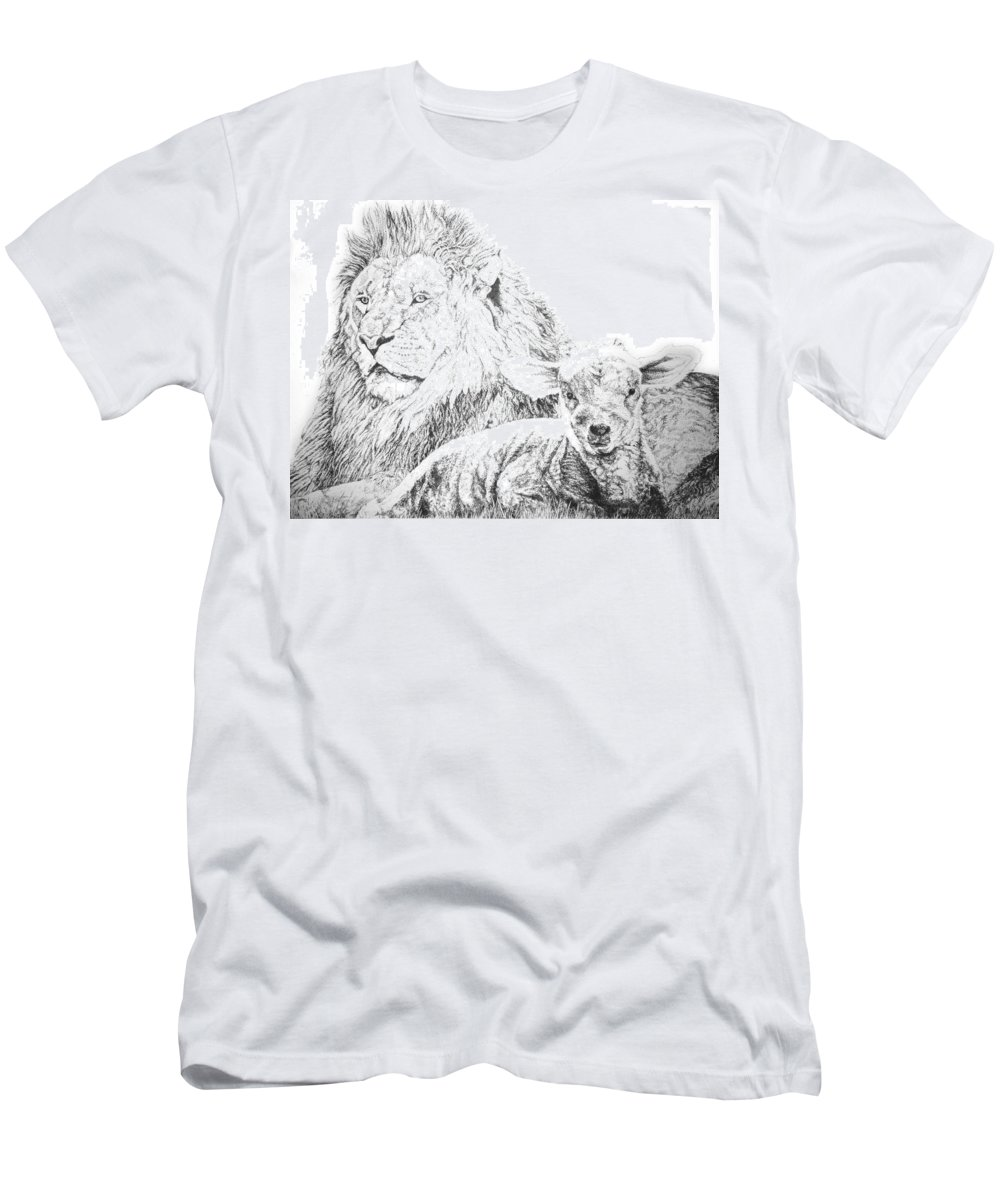 Lion Men's T-Shirt (Athletic Fit) featuring the drawing The Lion And The Lamb by Bryan Bustard