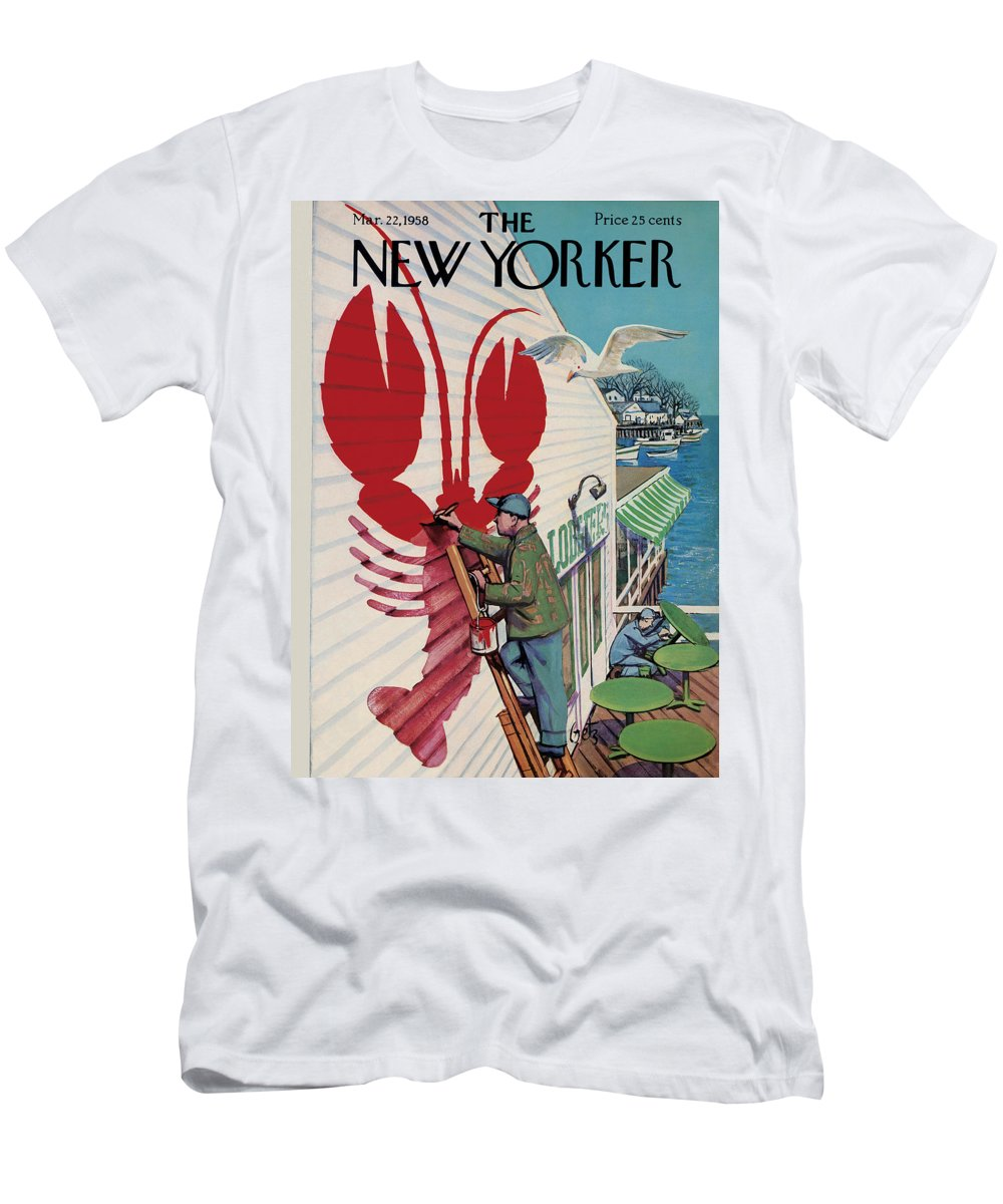Food T-Shirt featuring the painting New Yorker March 22, 1958 by Arthur Getz