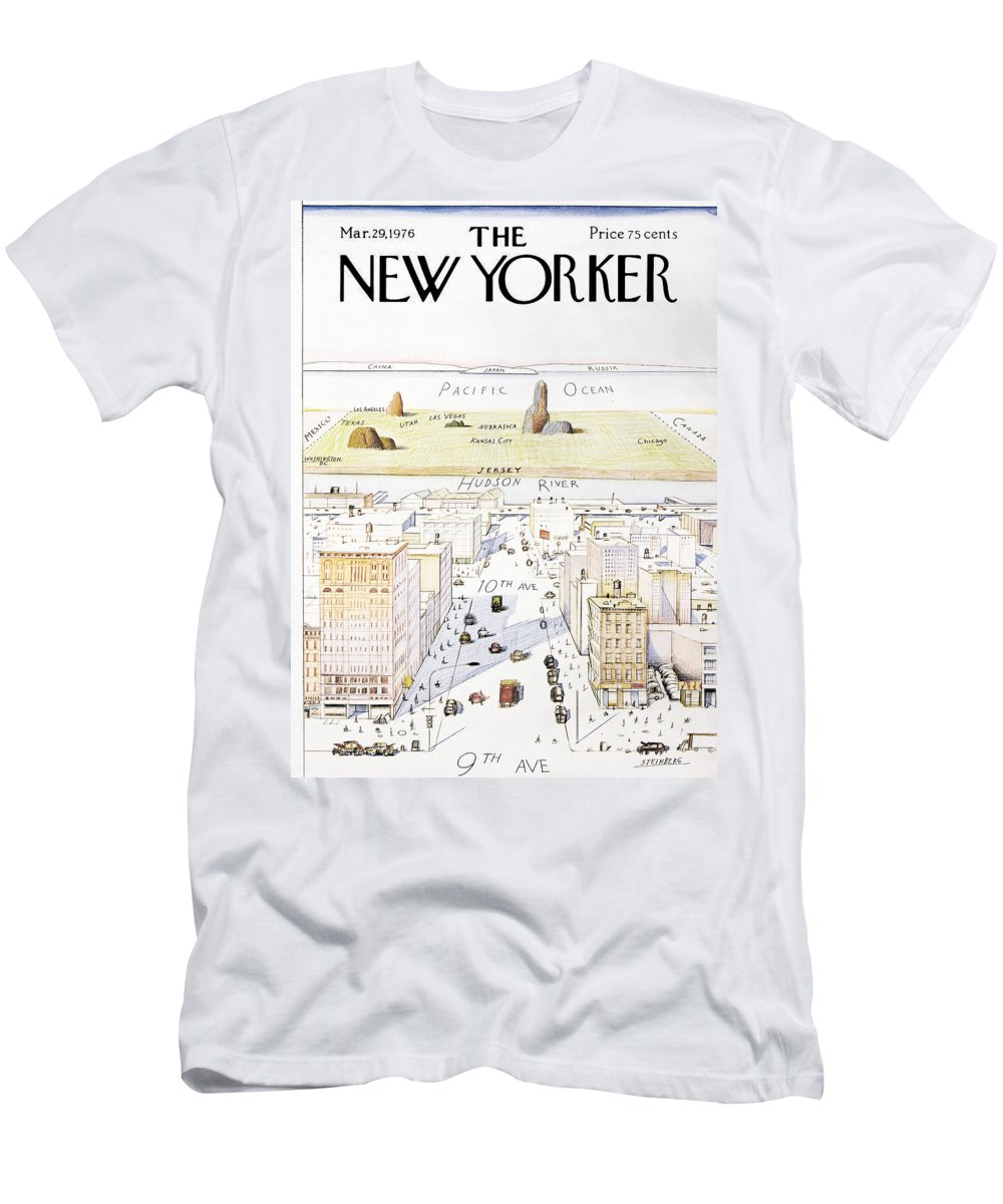 Saul Men's T-Shirt (Athletic Fit) featuring the photograph View From 9th Avenue by Saul Steinberg