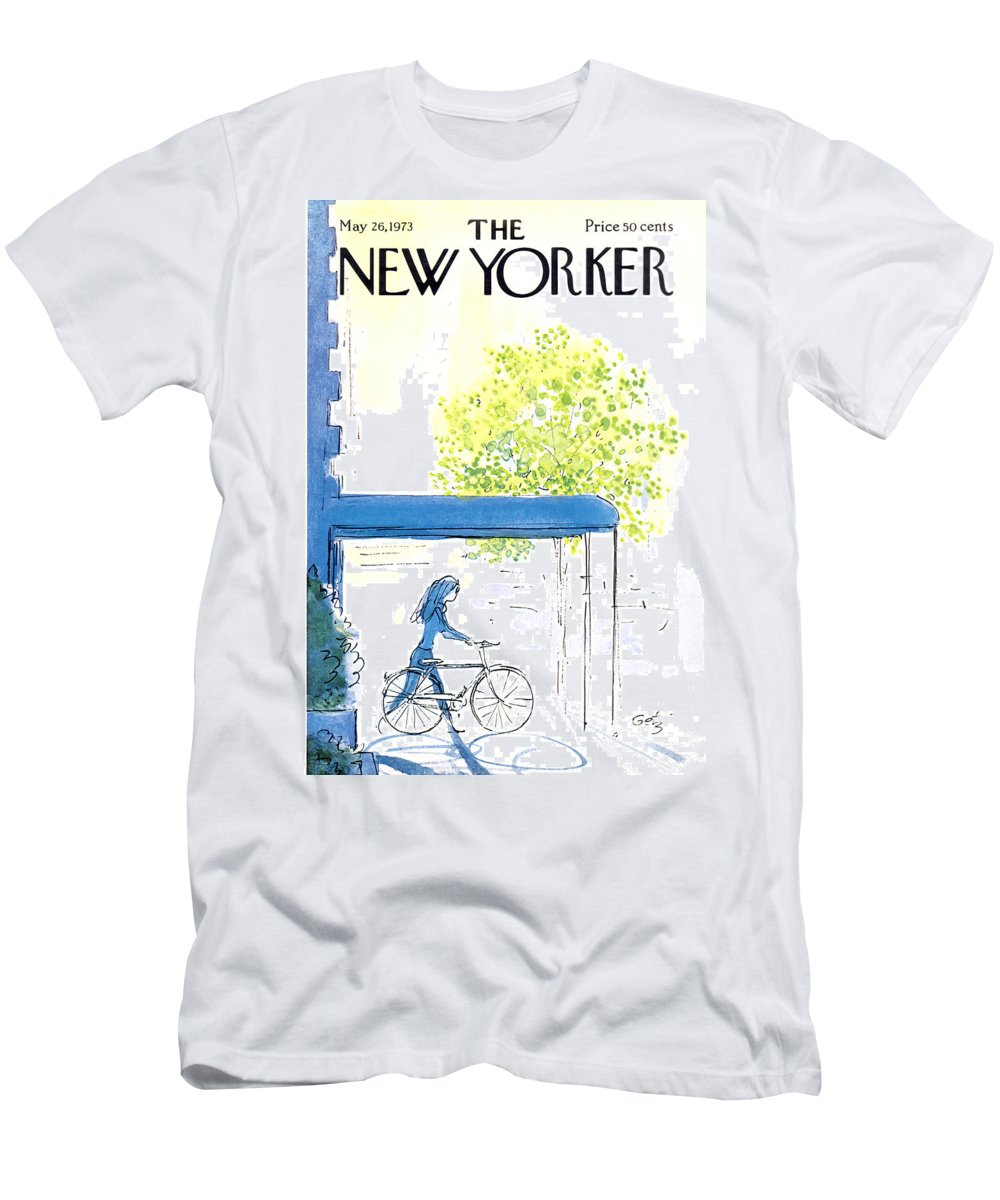 Bicycle Men's T-Shirt (Athletic Fit) featuring the painting The New Yorker Cover - May 26th, 1973 by Arthur Getz