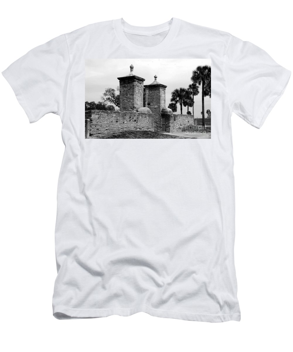 Saint Augustine Florida Men's T-Shirt (Athletic Fit) featuring the photograph The Old City Gates by David Lee Thompson