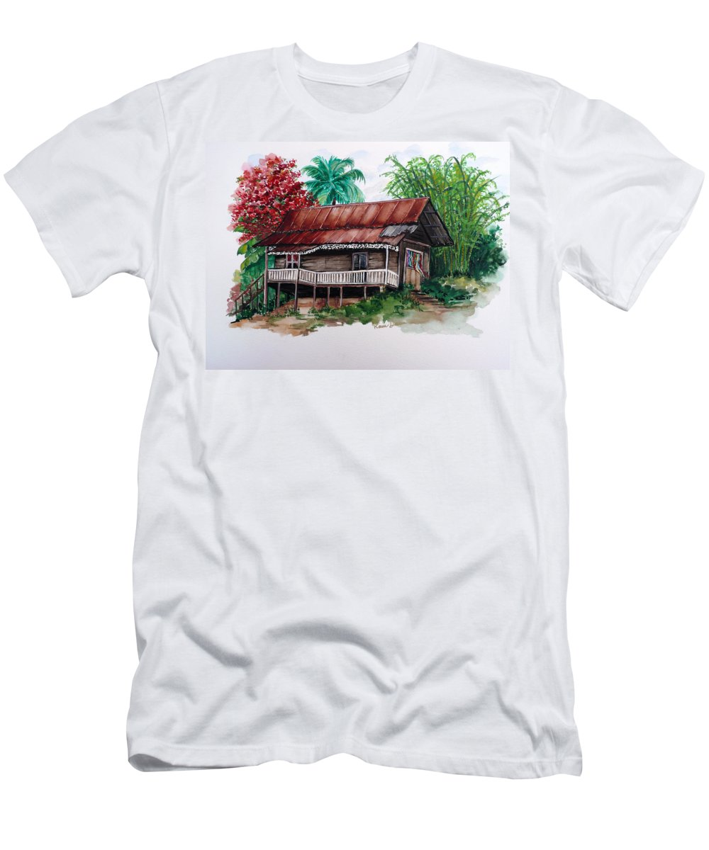 Tropical Painting Poincianna Painting Caribbean Painting Old House Painting Cocoa House Painting Trinidad And Tobago Painting  Tropical Painting Flamboyant Painting Poinciana Red Greeting Card Painting Men's T-Shirt (Athletic Fit) featuring the painting The Old Cocoa House by Karin Dawn Kelshall- Best