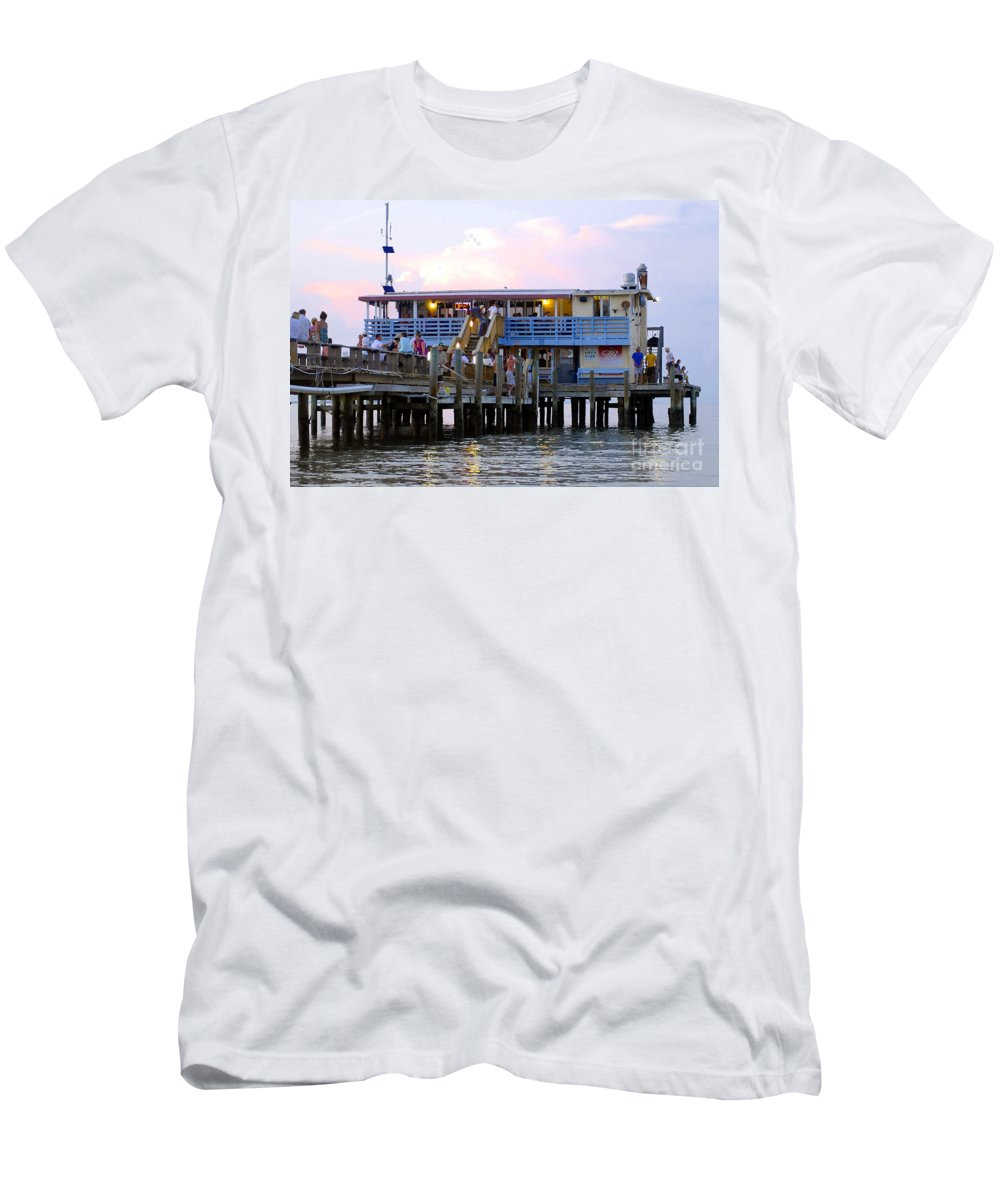 Fishing Pier Men's T-Shirt (Athletic Fit) featuring the photograph The Old Pier by David Lee Thompson