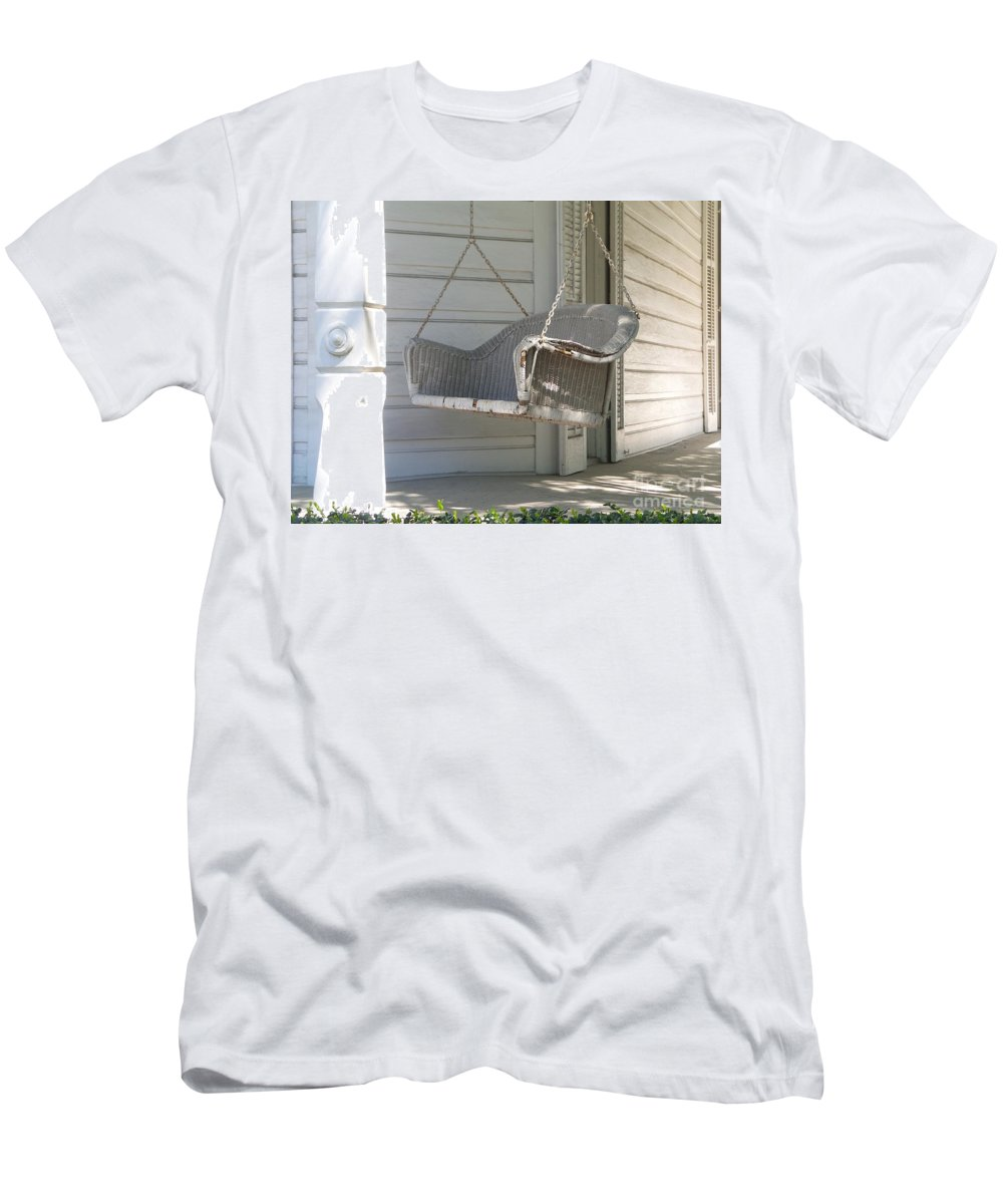 Porch Men's T-Shirt (Athletic Fit) featuring the photograph The Old Porch Swing. by Ann Davis