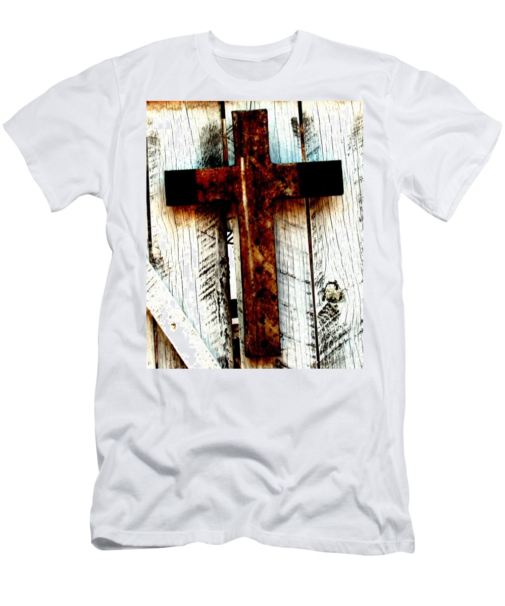 Cross Men's T-Shirt (Athletic Fit) featuring the photograph The Old Rusted Cross by Wayne Potrafka