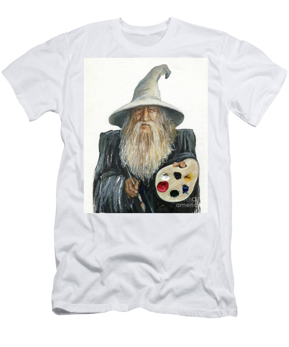 Wizard Men's T-Shirt (Athletic Fit) featuring the painting The Painting Wizard by J W Baker
